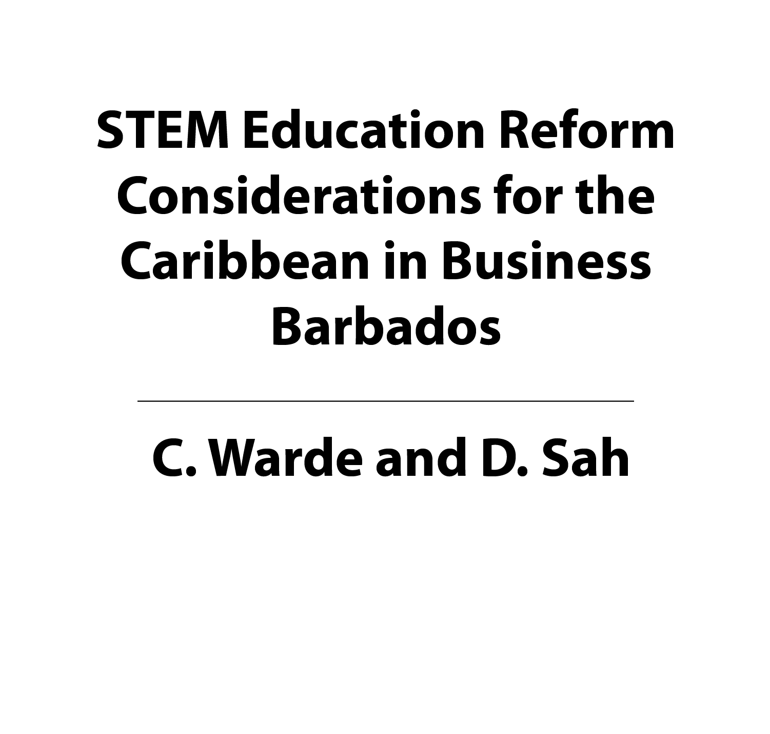 STEM Education Reform Considerations for the Caribbean in Business Barbados