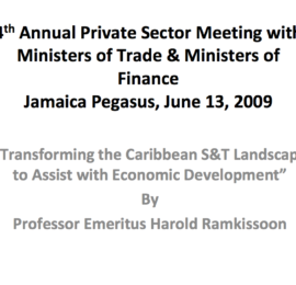 Transforming the Caribbean S&T Landscape to Assist with Economic Development
