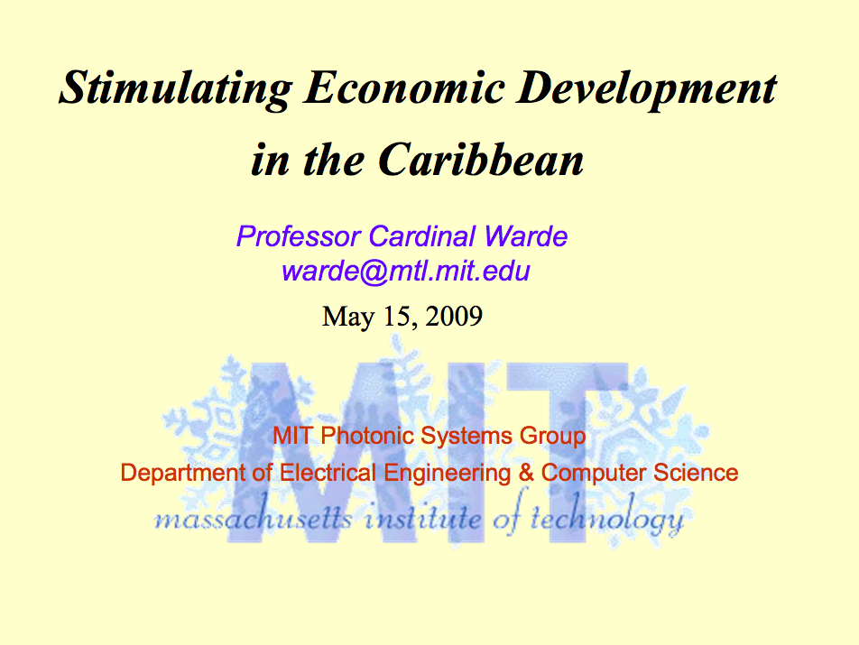 Stimulating Economic Development in the Caribbean: Caribbean Science Foundation